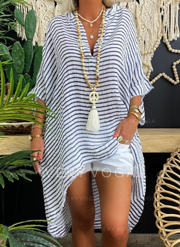 Striped V-Neck 3/4 Sleeves Casual Blouses