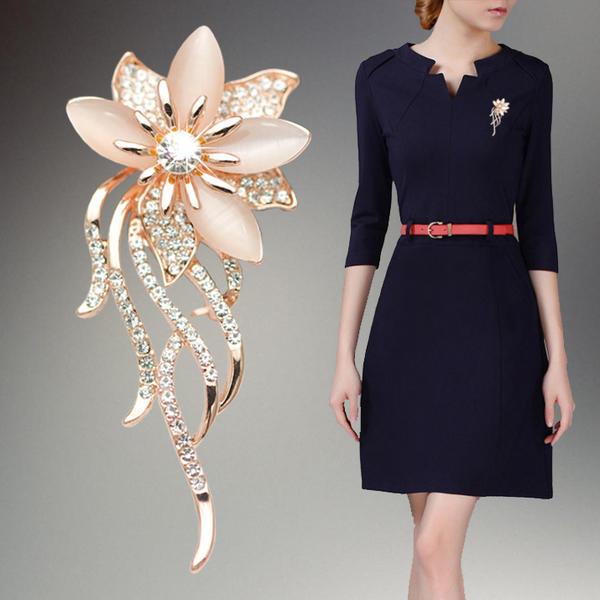 gyönyörű Ötvözet strassz -Val Hegyikristály Női divat brossok