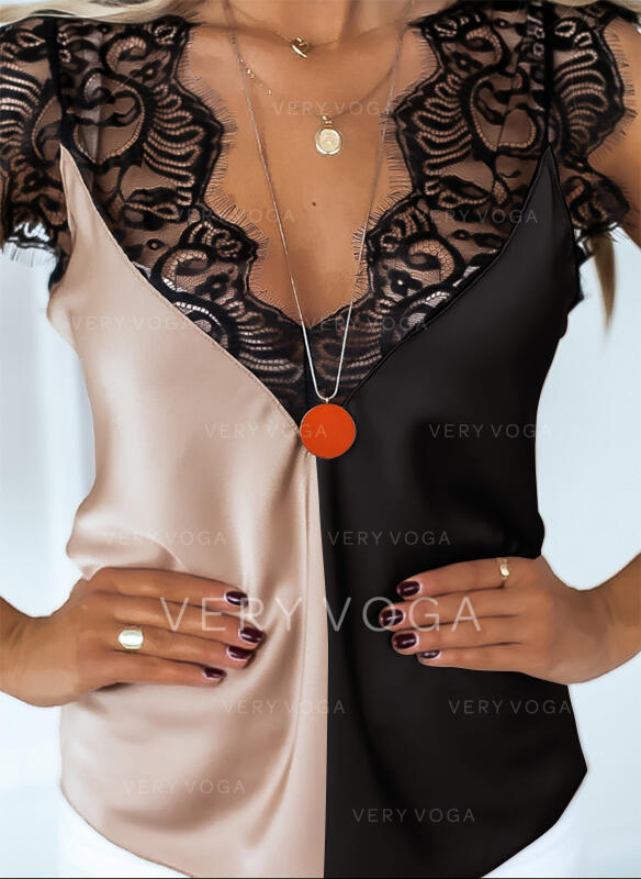 Backless Color Block Lace V-Neck Sleeveless Tank Tops