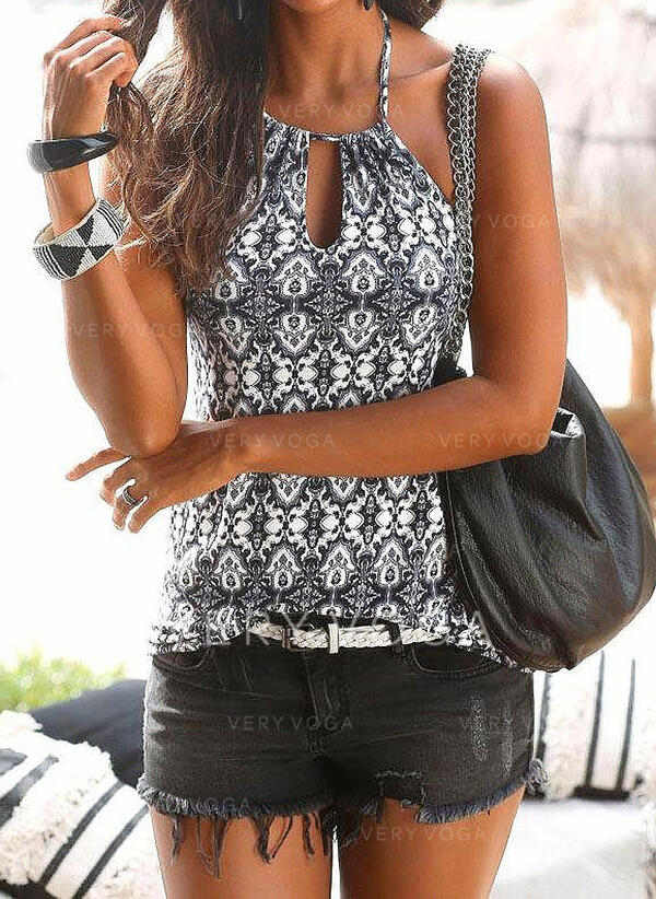 Print Round Neck Sleeveless Casual Sexy Tank Tops