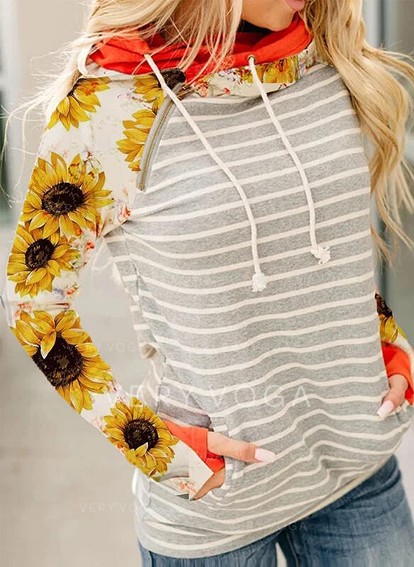Striped Sunflower Print Long Sleeves Hoodie