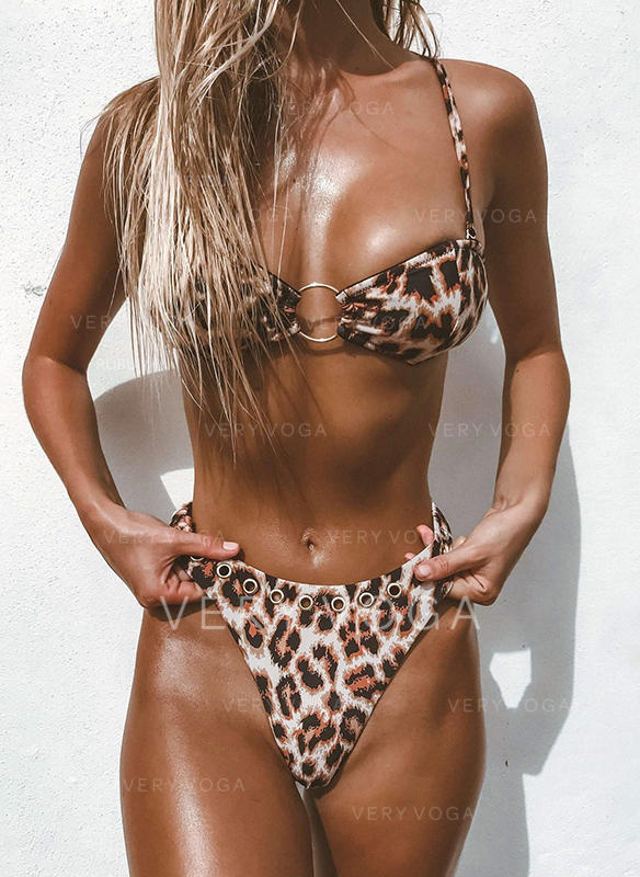 Leopard Thong Strap Sexy Bikinis Swimsuits