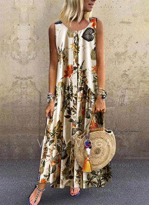 Print/Floral Sleeveless Shift Maxi Casual Dresses