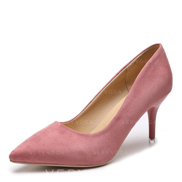 Frauen Veloursleder Stöckel Absatz Absatzschuhe Schuhe
