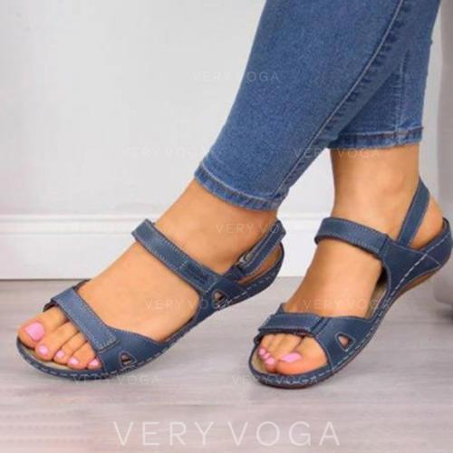Női PU Lapos sarok Szandál Lakások Peep Toe -Val Csat cipő