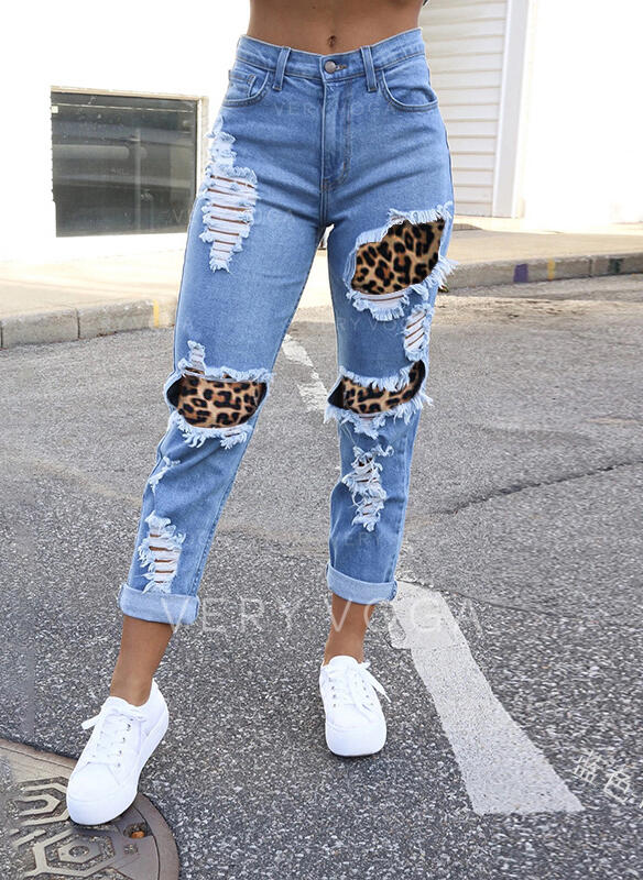 shirred Plus størrelse Ripped Casual Sexet Denim & Jeans
