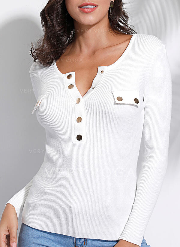Solid Round Neck Long Sleeves Button Up Casual Knit Blouses