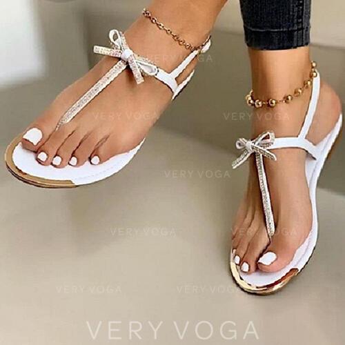 Women's PU Flat Heel Sandals Flats Peep Toe Flip-Flops With Bowknot shoes