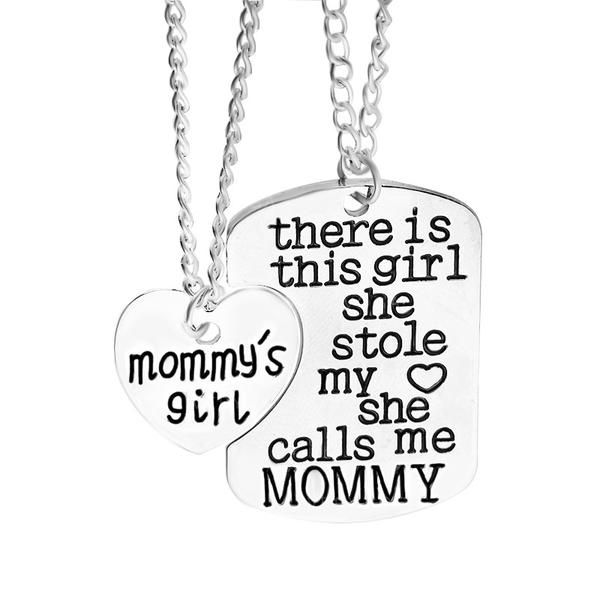 Classic Alloy Mother Daughter Necklace