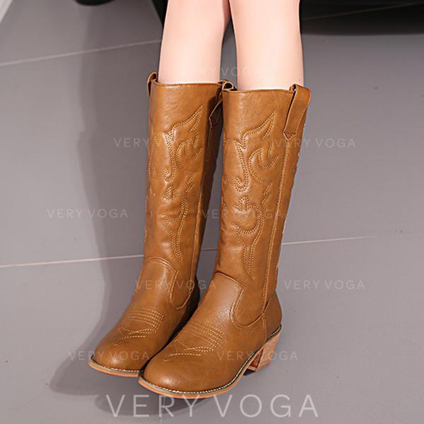 Frauen PU Stämmiger Absatz Stiefel-Wadenlang mit Tierdruckmuster Zweiteiliger Stoff Schuhe