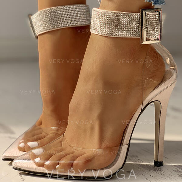 Women's PVC Stiletto Heel Pumps With Rhinestone Buckle shoes