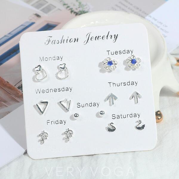 Flower Shaped Star Shaped Alloy Earrings (Set of 7)
