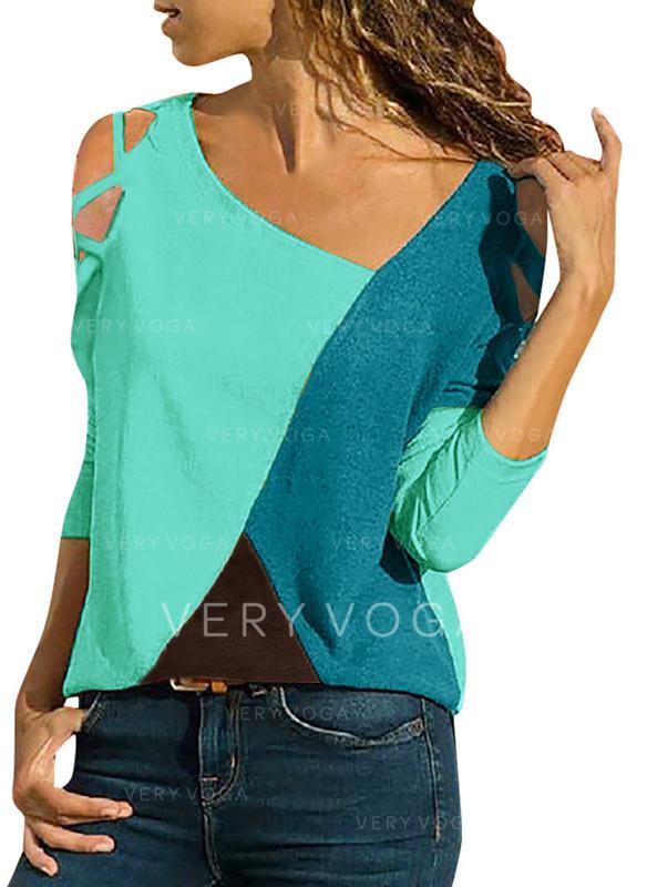 Geblockte Farben V-Ausschnitt 3/4 Ärmel Freizeit T-shirts