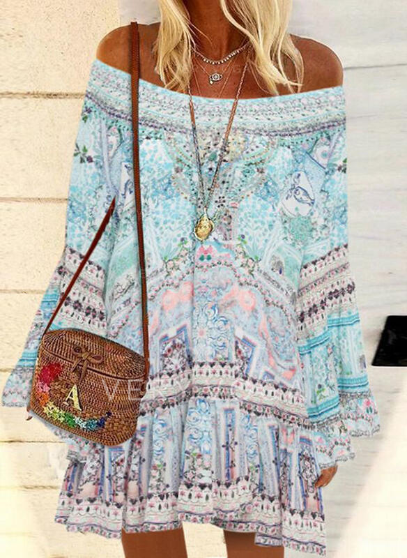 Print Long Sleeves/Flare Sleeves Shift Above Knee Casual/Boho/Vacation Dresses