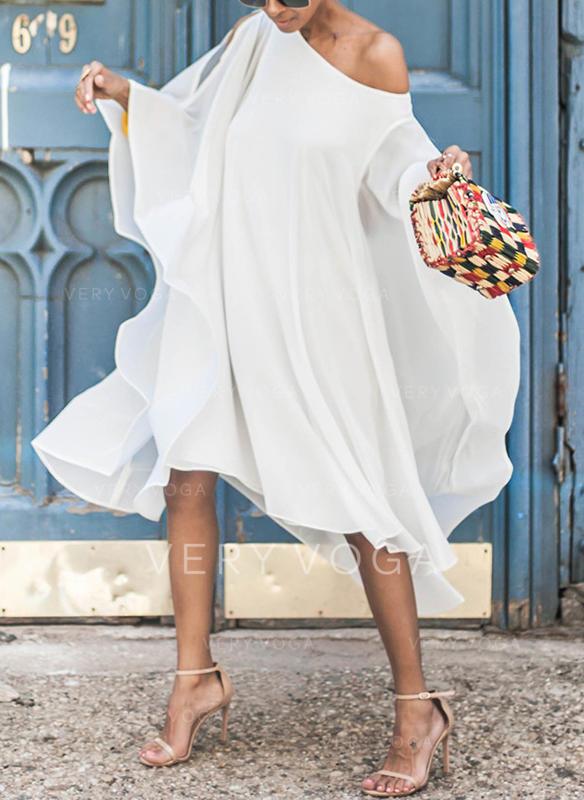 Long Sleeves Shift Midi Vacation Dresses
