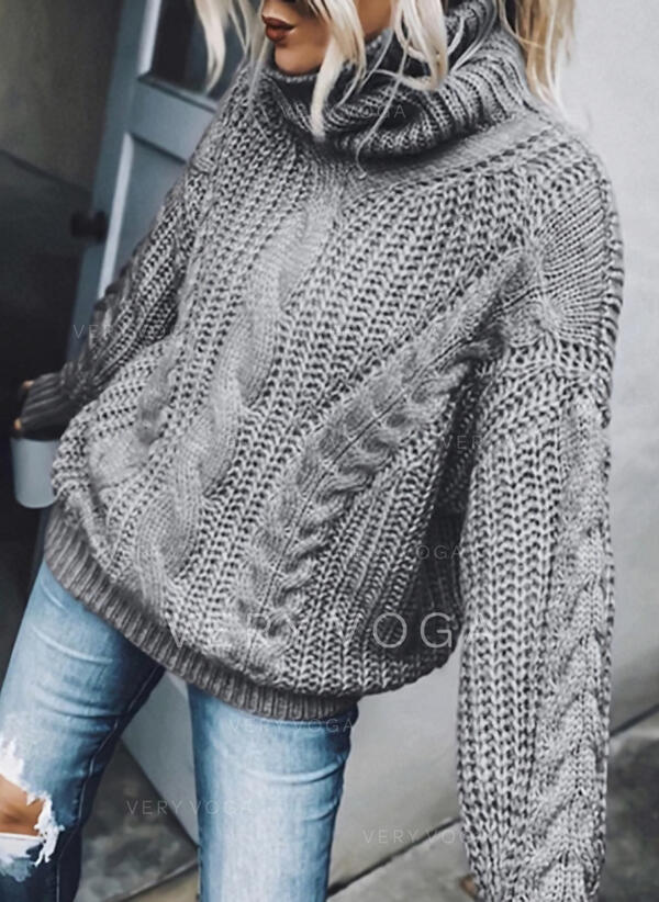 Einfarbig Zopfmuster Rollkragen Freizeit Pullover