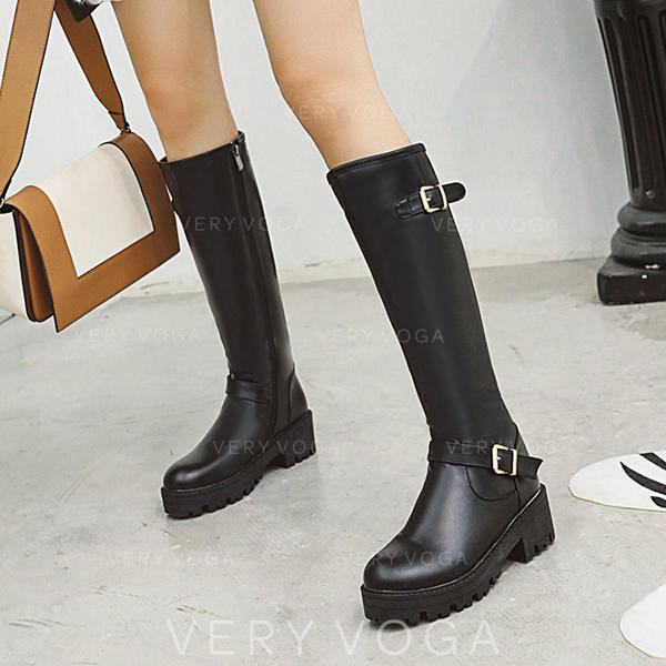 Women's PU Chunky Heel Knee High Boots With Buckle Zipper shoes