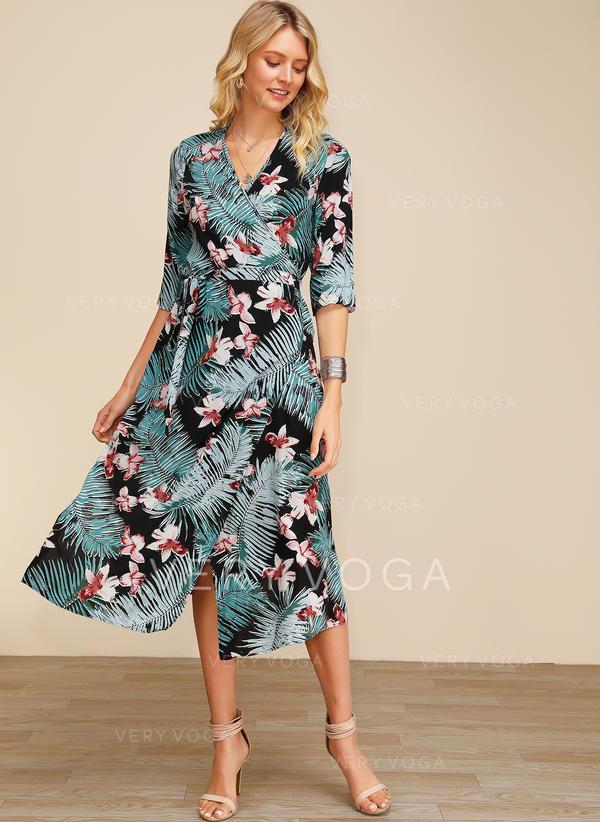 Print/Floral 3/4 Sleeves A-line Midi Casual/Elegant Dresses