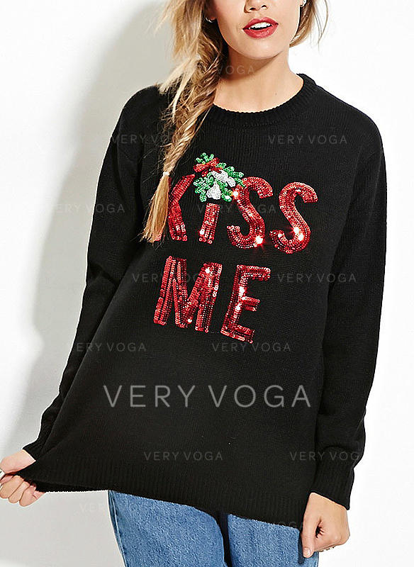 Print Round Neck Casual Loose Christmas Ugly Christmas Sweater