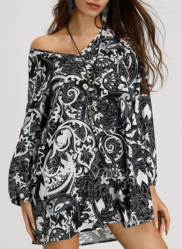 Print Long Sleeves Shift Above Knee Boho/Vacation Tunic Dresses