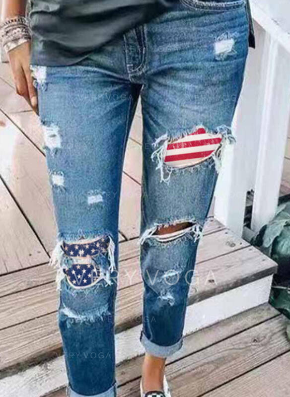 Striped Patchwork Pockets Plus Size Long Casual Sporty Denim & Jeans