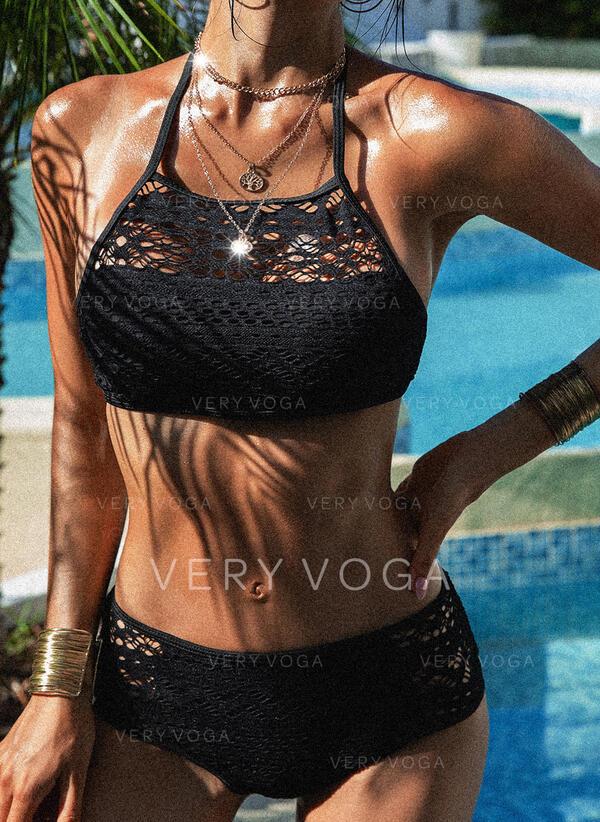 Ahuecar Malla Ata para arriba Sin Mangas Cuello Alto Sexy Elegante Clásico Bikinis Trajes de baño
