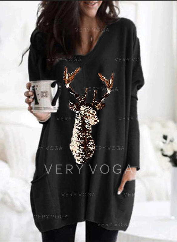Animal Print V-Neck Long Sleeves Casual Christmas Knit Blouses