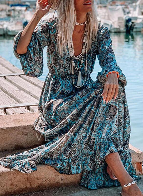Nadrukowana Długie rękawy W kształcie litery A Łyżwiaż Wakacyjna Maxi Sukienki