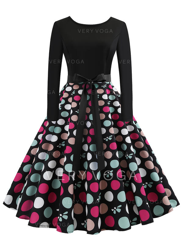 d2b91f86 Polkadot Lange ermer A-linje Knelengde Vintage stil/Lille svarte/Elegant  Kjoler