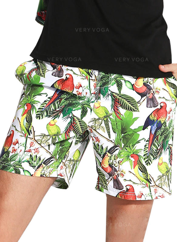 Men's Leaves Lined Swim Trunks
