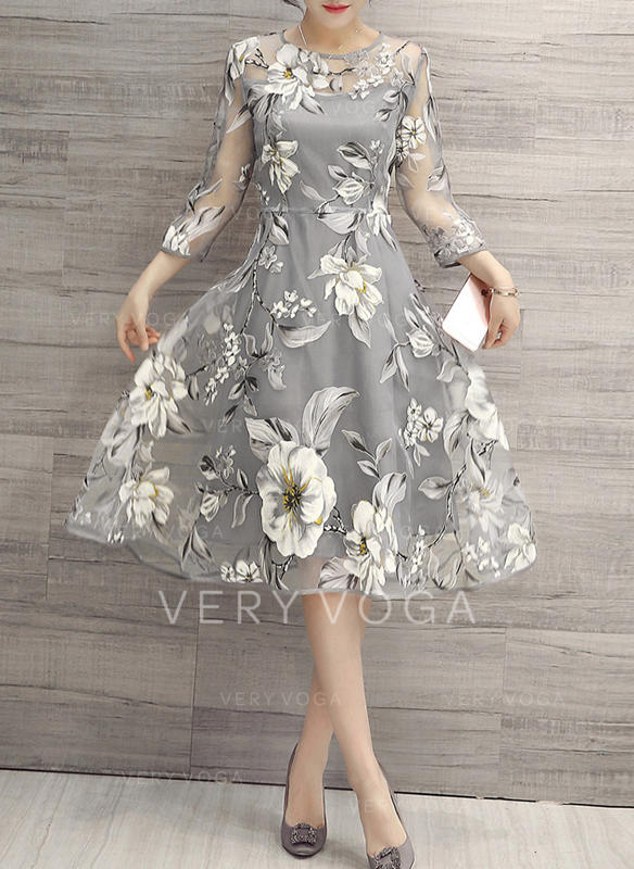 Print/Floral 3/4 Sleeves A-line Knee Length Vintage/Casual/Elegant Dresses