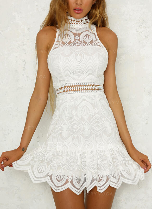 Lace/Solid Sleeveless Sheath Above Knee Casual/Elegant Dresses