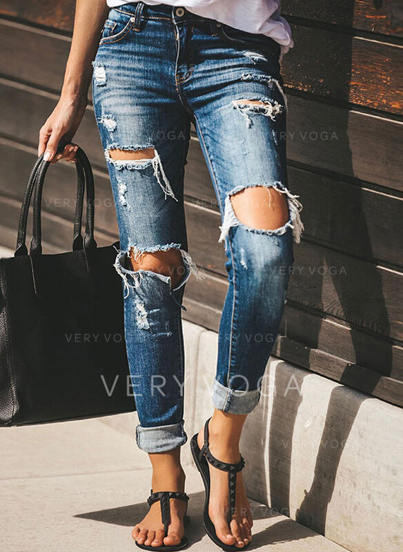 Pockets Ripped Long Sexy Tribal Denim & Jeans