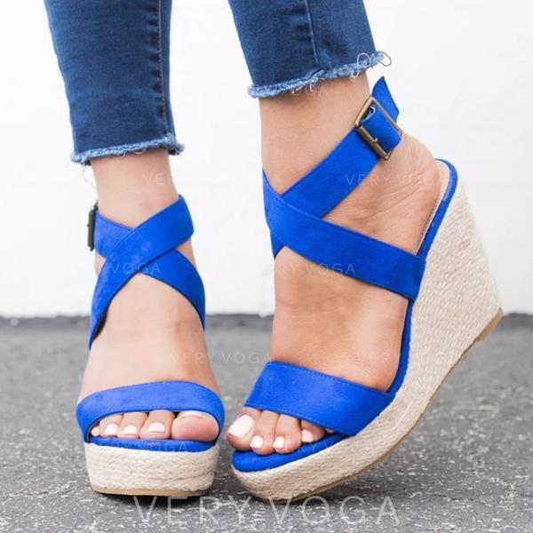 Women's PU Wedge Heel Sandals Platform Wedges Peep Toe With Buckle shoes