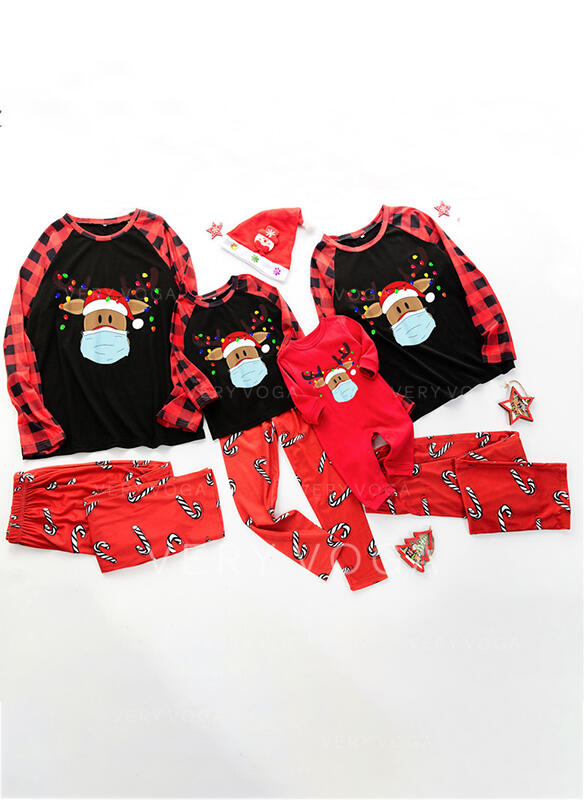 Reindeer Deer Print Family Matching Christmas Pajamas