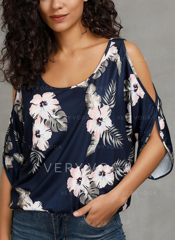 Print Floral Round Neck Cold Shoulder 1/2 Sleeves Casual Blouses