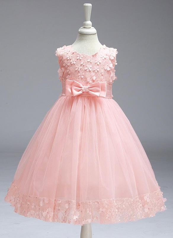 5288338bf8 Dziewczyny Okrągły Dekolt Solidny Koronka Kokarda Ładny Flower Girl Sukienka