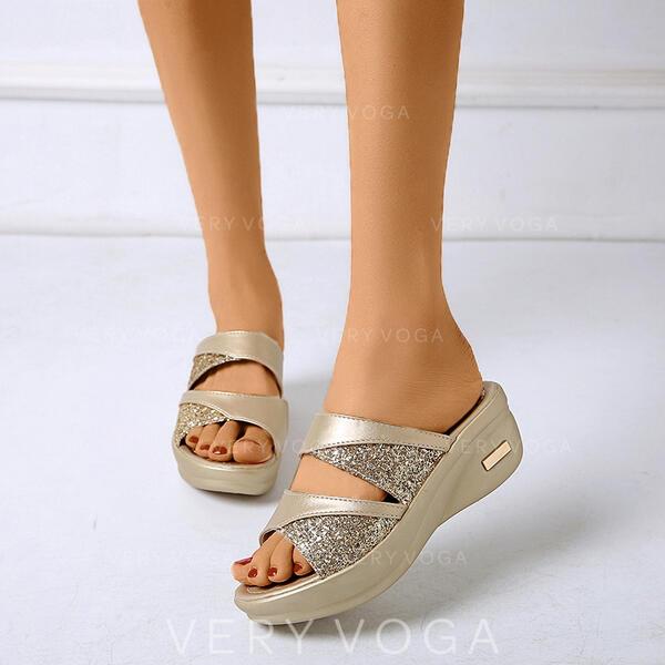 Vrouwen PU Wedge Heel Sandalen Peep Toe Slippers met Strass schoenen