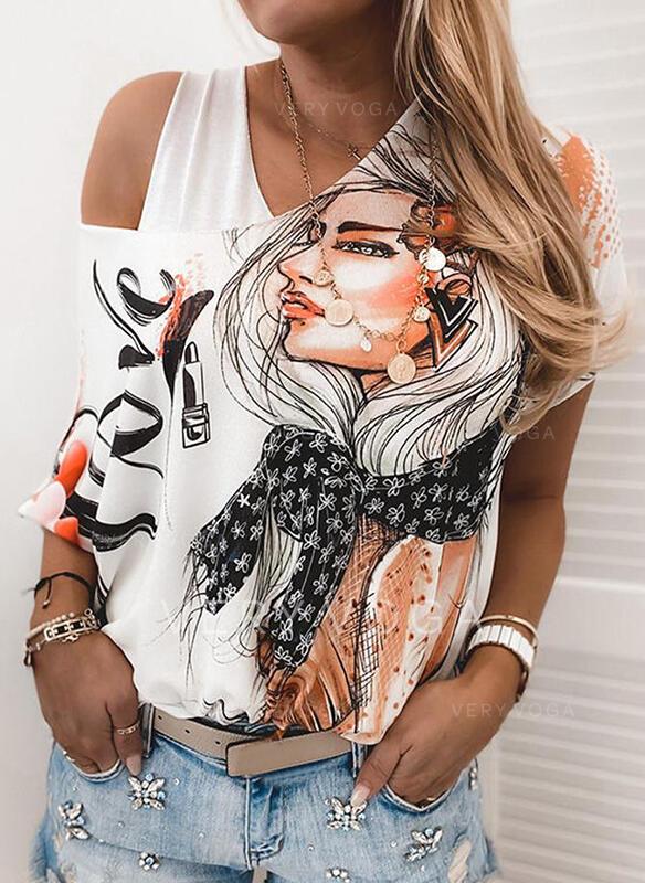 Print One-Shoulder 1/2 Sleeves Casual Blouses