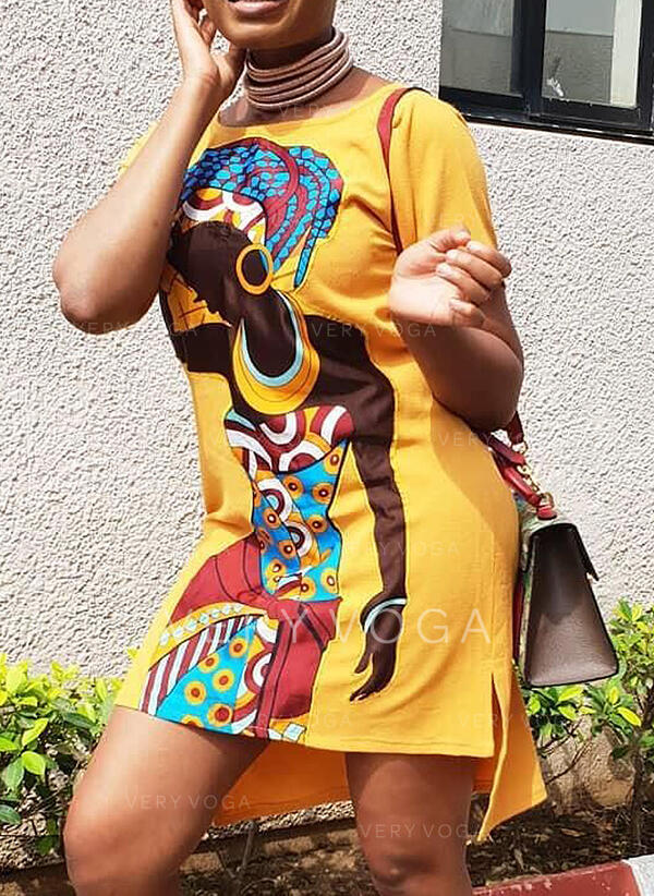 Print Short Sleeves Shift Above Knee Casual/Vacation/Plus Size Dresses