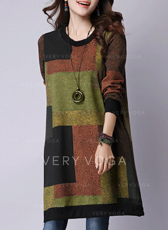 Color-block/Patchwork Long Sleeves Shift Knee Length Casual Dresses