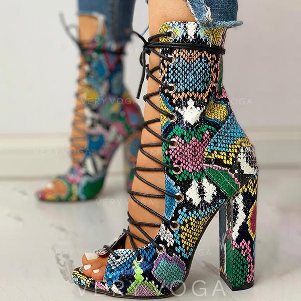 Vrouwen PU Chunky Heel Peep Toe met Vastrijgen schoenen