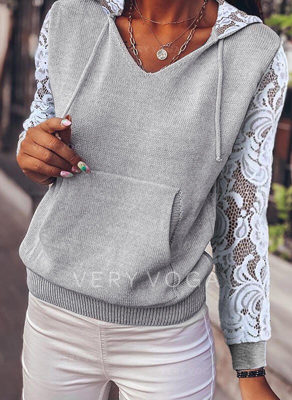 Solid Pocket Lace Hooded Casual Sweaters