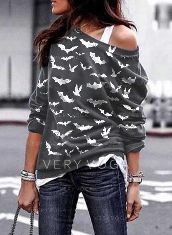 Dierenprint Halloween One Shoulder Lange Mouwen Sweatshirts