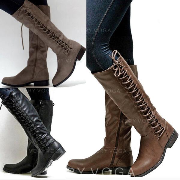 De mujer PU Tacón ancho Botas a la rodilla con Cremallera Cordones zapatos