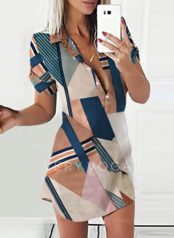 Wyszczuplająca/W paski Krótkie rękawy Pokrowiec Nad kolana Casual Koszula Sukienki
