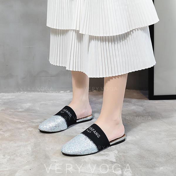 Kvinner Glitrende Glitter Flat Hæl Flate sko med Paljetter Glitrende Glitter sko