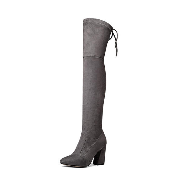 0d4a88aeafd [US$ 51.99] Women's Suede Chunky Heel Pumps Boots Knee High Boots With  Lace-up shoes - VeryVoga