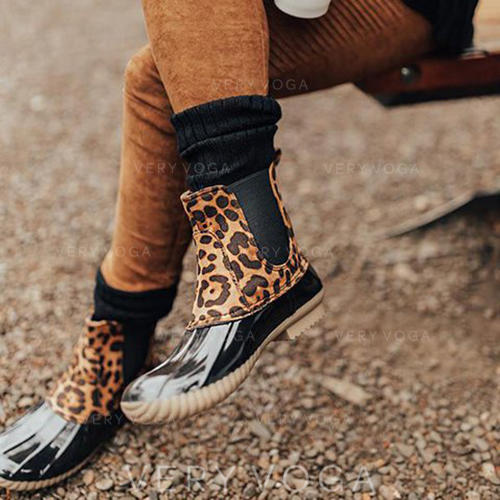 Women's PU Low Heel Boots With Animal Print shoes