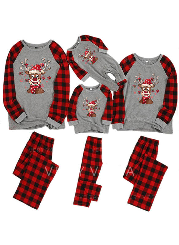 グリッド フローラル マッチングファミリー クリスマスパジャマ